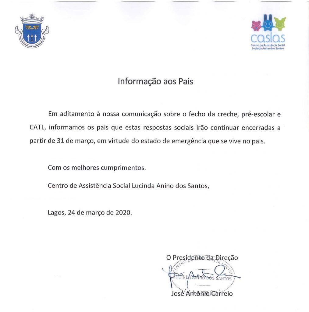 Informação aos pais - COVID-19 continuação do encerramento